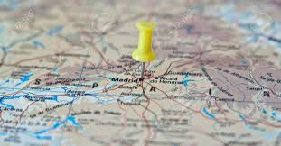 madrid spain map push pin pointing at madrid spain on a map stock photo picture