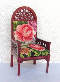 miniature chair upholstered with antique petit point small