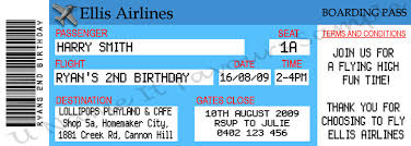 birthday ticket invitation with airline boarding pass themed