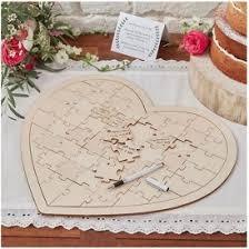 wooden heart jigsaw wedding guest book 13 99 tesco direct