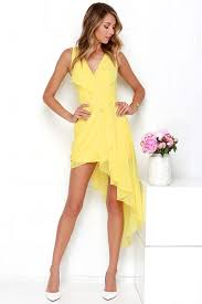 yellow dress lovely yellow dress wrap dress high low dress 48 00