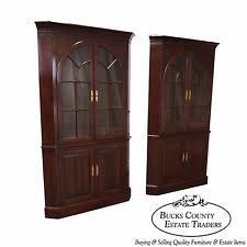 Curio Cabinets Pair Cherry Corner Cabinet Ebay