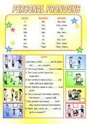 worksheet personal pronoun 1