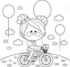 on a bicycle at the park black and white coloring book page