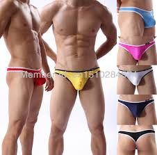 Men Underwear Faux Leather Male Fashion Sexy Thongs Underpants M L