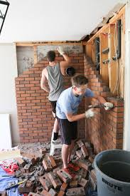 Remove Brick Fireplace by Family Room Renovation Removing Brick Fireplace