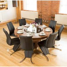 luxury large round walnut dining table lazy susan plus 8 z chairs