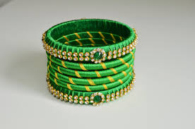 green color green color silk thread bangles set with stone work u2013 bhama u0027s boutique