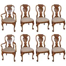 set of eight walnut queen anne style dining chairs at 1stdibs