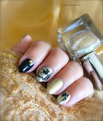 easy to do marble nails with no water black and gold nail art