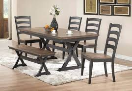 6 pc dining table set 6 pc dining set 6 dining set with with bench black and brown pl 6 pc