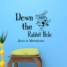 popular rabbit quotes buy cheap rabbit quotes lots from china alice in wonderland wall sticker white rabbit with down the rabbit hole quotes vinyl wall mural