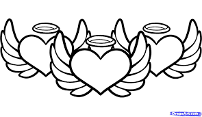 hearts with wings coloring page free download