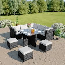 modular corner cube dining set in dark mixed grey with light