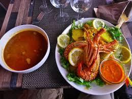 cuisine marseille bouillabaisse a la marseille the bouillon on left seafood and