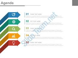 templates for business agenda five staged arrows and icons for business agenda powerpoint slides