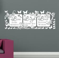 live laugh love white butterfly vine flower wall quote stickers