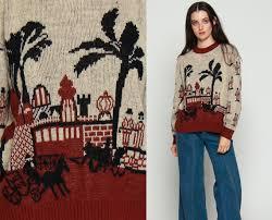 novelty sweater city print palm tree sweater boho 70s