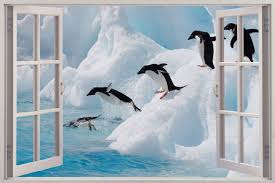 60 90cm cartoon iceland penguin wall stickers for kids room home penguin wall stickers