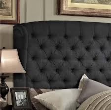 panel bed upholstered wingback wood linen king size headboard