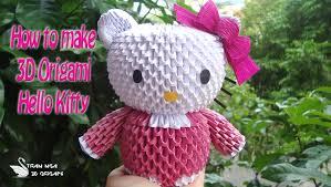 cara membuat origami hello kitty 3d how to make 3d origami hello kitty diy hello kitty tutorials