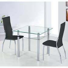 table and 2 chairs set glass dining table with 2 black pisa dining chairs