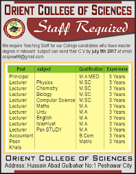 orient college of sciences jobs 2017 available for 13 teaching
