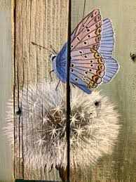 art barn wood painting dandelion butterfly country rustic