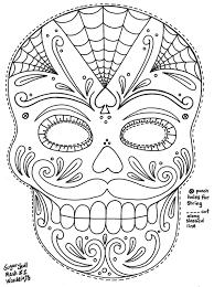 sugar skull mask 2 coloring pages printable tri color digital