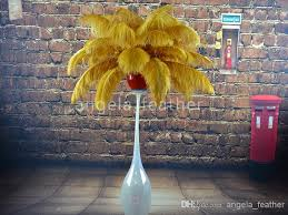 wholesale 12 14inch golden ostrich feathers for eiffel tower
