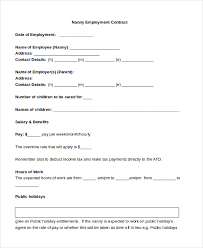 sample nanny contract form 9 free documents in pdf doc