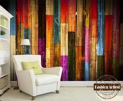 living room cafe custom modern 3d wallpaper mural vintage color wooden board wall tv