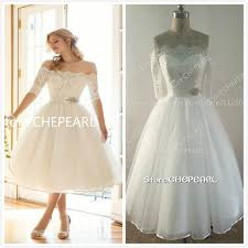 aliexpress com buy boat neck tea length short wedding dresses