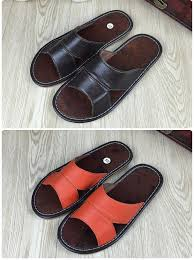 Leather Bedroom Slippers Genuine Leather House Slippers For Man Breathable Home Floor Falt