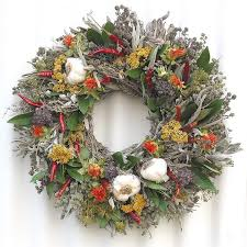 herb wreath whole garlic cloves herbs wreath gift for a chef