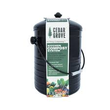 Compost Containers For Kitchen by Cedar Grove Compost Bin With Lid Black 1 3 Gallon