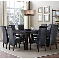 simpli home avalon 9 piece midnight black dining set axcds9 avl bl avalon 9 piece midnight black dining set