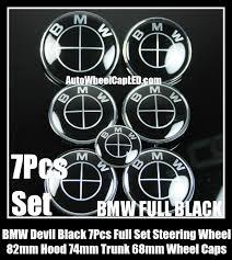 black and white bmw roundel bmw black 7pcs emblems 82mm 74mm trunk 68mm wheel center