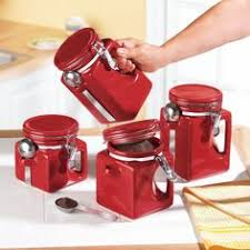 ceramic kitchen canisters red set of 4 food storage