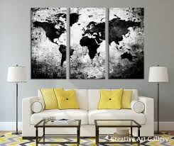 World Map Canvas Art by Large Triptych Art Black White World Map Canvas Print Large World