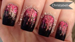 christabellnails waterfall glitter gradient nail art tutorial