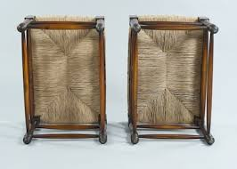 A Pair Of Rush Seat Turned Wood Benches With Loose Seat Cushions