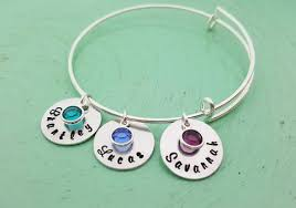 Personalized Name Bracelet Hand Stamped Personalized Name Bracelet Birthstone Bracelet