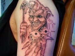 cool red black joker tattoo for hand toycyte