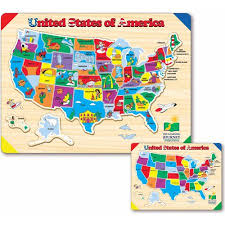 wooden usa map puzzle with states and capitals the learning journey lift and learn usa map puzzle walmart