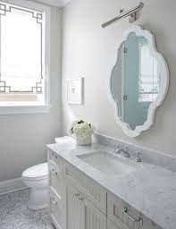 White And Gray Bathroom With Beadboard Vanity Transitional