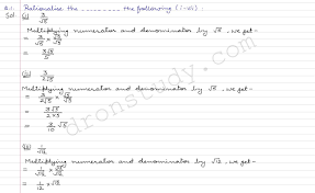 class 9 class ix cbse r d sharma solutions rationalisation ex