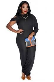 plus size black jumpsuit black strappy one shoulder plus size jumpsuit