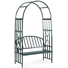 Trellis Arch Amazon Com Vonhaus Dark Green Metal Garden Arbor With Two Seater