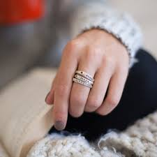 engraved stackable rings names and birthstones on one ring these stacking rings